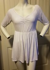 Stretchy Knit Cinched Front Tunic Top Elbow Sleeve white Boston proper medium M