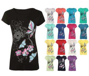 Designer Plus Size Butterfly Print Short Sleeve T-Shirt Ladies Top N01