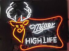 "New Miller High Life Deer Man Cave Neon Light Sign 20""x16"" Real Glass Bar Beer"