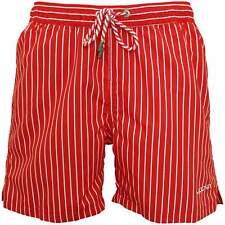Jockey Playa Náutica Striped Pantalones Cortos de Baño para Hombre, Rojo