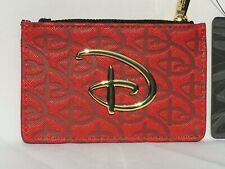 """Loungefly Disney Red Debossed """"D"""" Logo Zippered Coin Purse Cardholder Nwt"""