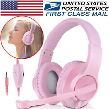 Headset Gaming for PS4 Xbox One Controller Wired Noise Isolation Headphone Pink