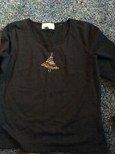WOMEN'S CASUAL CORNER ANNEX BLACK Holiday Sequined Top  SIZE M