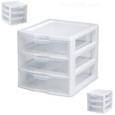 3 Drawer Storage Mini Organizer Unit Clear Plastic Cosmetic Craft Small Pieces