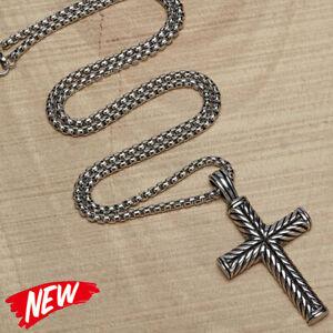 Fasion Boys Mens Stainless Steel Vintage Cross Pendant Necklace Men Women Silver