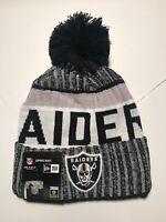 NFL Oakland Raiders 2019 NEW ERA SIDELINE ON FIELD SPORT KNIT Beanie POM POM