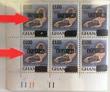 New listing Ghana 1988 Surcharge Inverted Small zeros On first Top Stamp Listed By SG M.N.H.