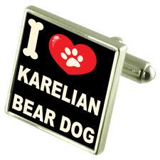 I Love My Dog Silver-Tone Cufflinks Karelian Bear