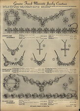 1957 PAPER AD French Marcasite Costume Jewelry Creations Snowflake Rose Ensemble