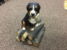 Bernese Mountain Dog My Dog Figurine Statue On Log Pile Resin Hand Painted