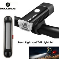 RockBros Bike USB Rechargeable Front Light 245 Lumen and Tail Light 30 Lumen Set