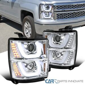 For Chevy 14-15 Silverado 1500 Clear Halo Projector Headlights+LED Signal Lamps