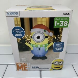 Gemmy 4.5 FT Despicable Me CARL MINION Santa Hat Lighted Airblown Inflatable