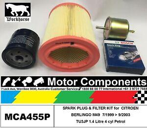 SPARK PLUG & FILTER KIT for CITROEN BERLINGO M49 TU3JP 1.4L Petrol 1999 > 2003