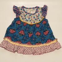 Matilda Jane Fresh Fantasy Girls Size 4 Tunic Shirt Floral Roses Plaid EUC