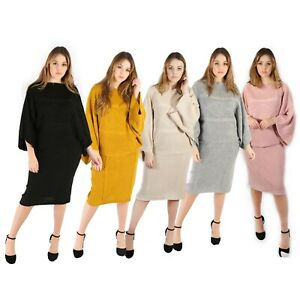 Womens Ladies Cable Knitted Midi 2 Pieces Lounge Wear Casual Set Suit Tracksuit
