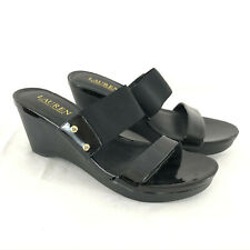 Ralph Lauren Womens Shoes Wedge Sandals Slip On Black Size 8