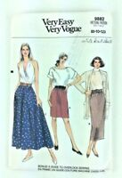 Vtg Easy Very Vogue 9882 1980s Long Skirt Short 8 10 12 Waist 24 26 1/2 PA89