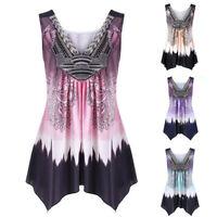 Women Boho V Neck Floral Tank Tops Tunic Dress Summer Casual Blouse Plus Size