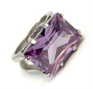 Amethyst color Ring  7.5 carat Solitaire Surgical Steel Select Size 7 8 or 9