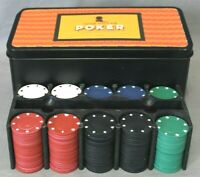 160 POKER CHIPS 40 Red 40 Black 40 Green 40 Blue With A Chip Holder & Tin Case