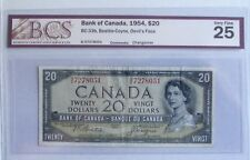 1954 CANADA $20 Devil's Face Banknote, BCS grade of VF 25, Changeover