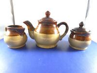 Vintage Stoneware Pitcher, Sugar and Creamer Set Dark Brown and Tan
