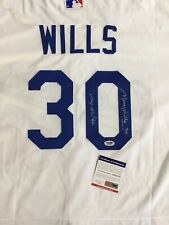 "MAURY WILLS DODGERS SIGNED JERSEY WITH ""MVP NL 62'"" INSCRIPTION PSA COA"