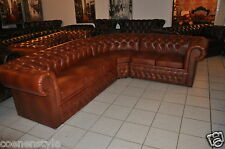 Ecksofa  Chesterfield Rinderleder A 100  290 x240  Cognac