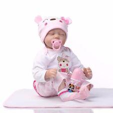 22''Handmade Lifelike Baby Girl Doll Silicone Vinyl Reborn Dolls+Clothes HYM