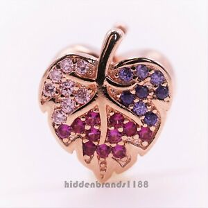 Authentic Pandora Rose Bead Sparkling Pave Leaf Charm 788322NPMMX
