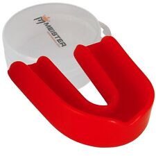 CUSTOM RED SINGLE MOUTH GUARD w/ CASE - MEISTER MMA Gum Shield Piece MOLDABLE