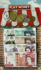 TOY PLAY MONEY - KIDS PRETEND STERLING UK NOTES AND COINS - SHOPPING/ ROLE PLAY
