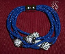 Blue Multi Strand Magnetic Clasp Austrian Crystal Leather Bracelet-NEW