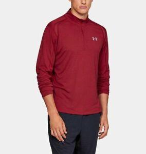 Under Armour UA Men's Heatgear Streaker 1/2 Zip Long Sleeve Top - Red - New