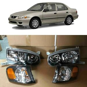 JDM Black Headlights for 2000 2001 2002 Toyota Corolla Corner Signal Lamps 01 02