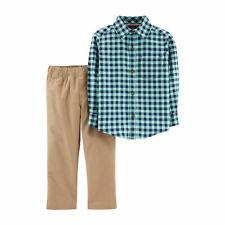 Carter's Toddler Boys 2-Pc. Plaid Cotton Shirt & Khaki Pants Set Size 5T