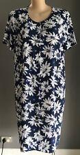 Retro ELIZABETH - S Blue/White/Yellow Floral Print Shirt Dress Plus Size 20