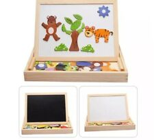 Kids Educational Wooden Magnetic Writing Drawing Board Jigsaw Puzzle Toys