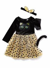 Cat Dress and Headband Outfit Set Black 3-4 years