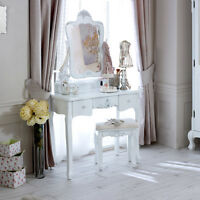 White Wooden Dressing Table Set Stool Mirror French Chic Bedroom Make Up Desk