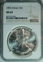 1995 Silver American Eagle Dollar / NGC MS69 / Mint State 69 / Better Date