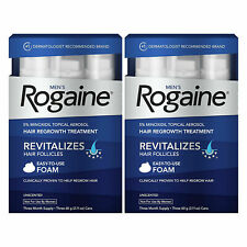 2 BOXES ROGAINE FOAM HAIR LOSS & REGROWTH TrREATMENT 5% MINOXIDIL 6 MONTH SUPLY