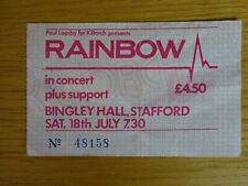 RAINBOW CONCERT TICKET 18TH JULY 1981 BINGLEY HALL STAFFORD RITCHIE BLACKMORE