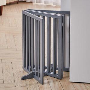Foldable Pet Gate 3/4 Panels Play Pen Wooden Divider Fence Barrier Doorway Grey