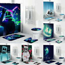DJ Marshmello 4PCS Bathroom Rugs Set Shower Curtain Bath Mat Toilet Lid Cover