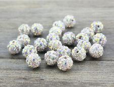 Wholesale 100 Pcs Cz Crystal Shamballa Beads Pave Disco Balls AB White 10MM New