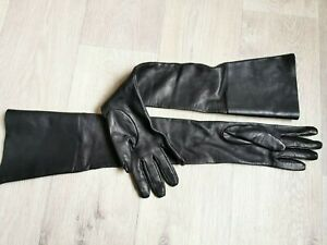 🌟New#   'S MAX MARA    Blac Long Lamb LEATHER Gloves   size 7,5(M)  from RUNWAY