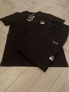 """Mens Hugo Boss Tshirt Short Sets Medium 38"""" Chest 32""""waist £79.99 Black/silver"""