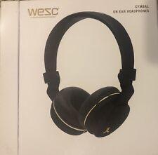 WeSC Premium Black Cymbal Wired Headphones with Mic & Volume Control NIB